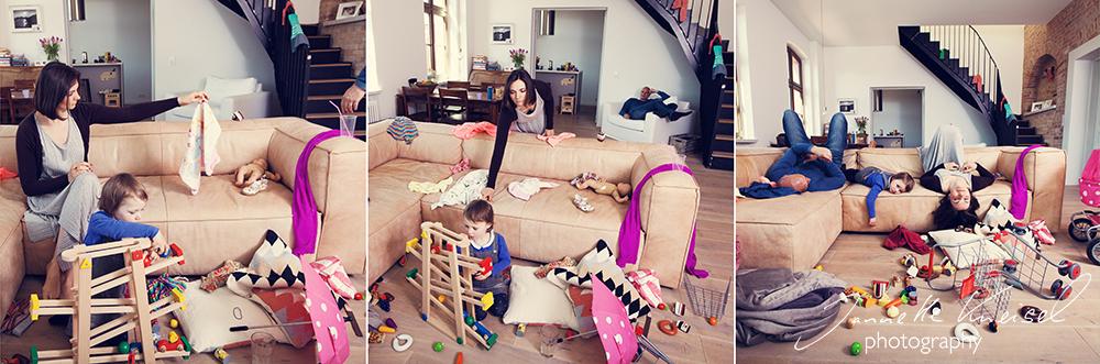 Kind macht Spielechaos im Wohnzimmer